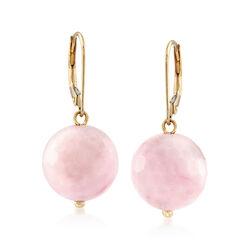 12mm Pink Opal Bead Drop Earrings in 14kt Yellow Gold, , default