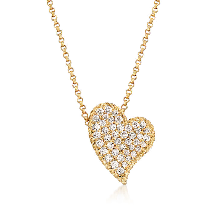 """Roberto Coin Princess """"Tiny Treasures"""" .39 ct. t.w. Diamond Heart Necklace in 18kt Yellow Gold"""