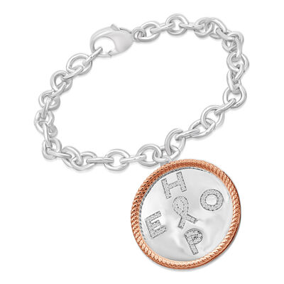 ".20 ct. t.w. Diamond ""Hope"" Charm Bracelet with Cancer Ribbon in Two-Tone Sterling, , default"