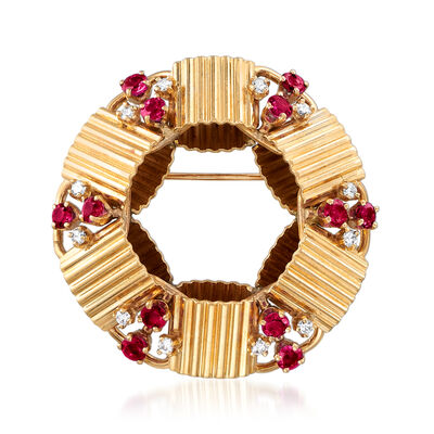 C. 1970 Vintage 1.55 ct. t.w. Ruby and .30 ct. t.w. Diamond Circle Pin in 14kt Yellow Gold