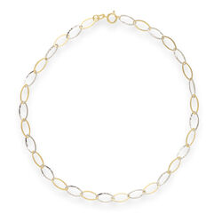 14kt Two-Tone Gold Oval-Link Anklet, , default
