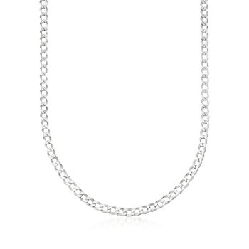 "Men's 5mm Sterling Silver Curb-Link Chain Necklace. 22"", , default"