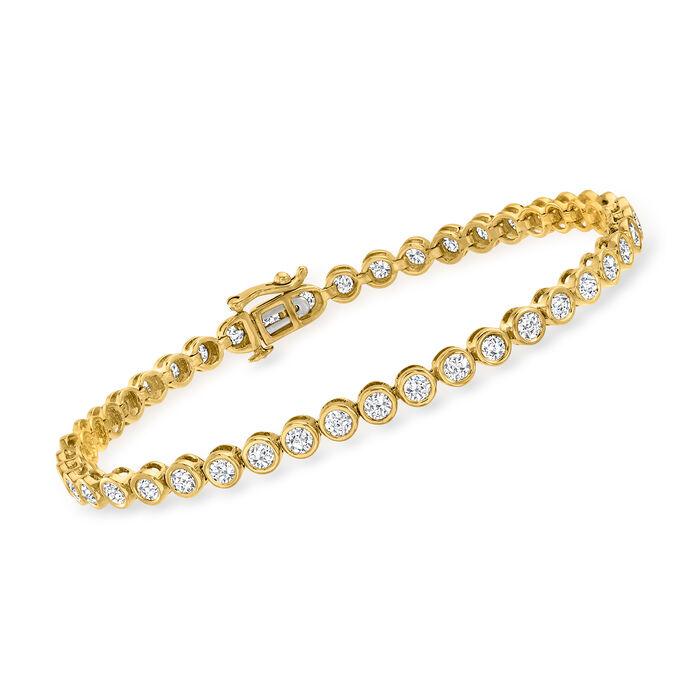 3.00 ct. t.w. Bezel-Set Diamond Tennis Bracelet in 14kt Yellow Gold, , default