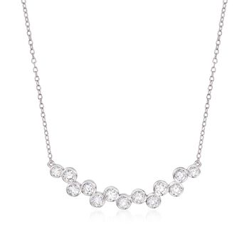 """1.20 ct. t.w. Staggered CZ Necklace in Sterling Silver. 16"""", , default"""