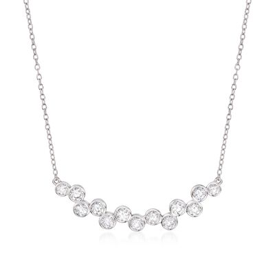 1.20 ct. t.w. Staggered CZ Necklace in Sterling Silver, , default