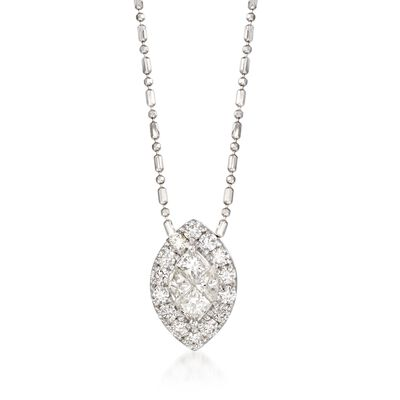 .89 ct. t.w. Diamond Marquise Necklace in 14kt White Gold
