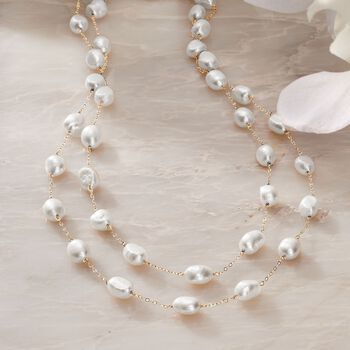 """8-9mm Cultured Semi-Baroque Pearl Endless Station Necklace in 14kt Yellow Gold. 40"""", , default"""