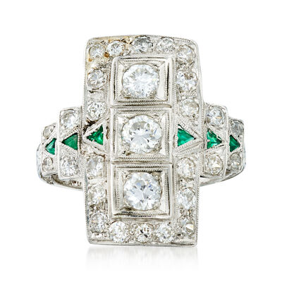 C. 1950 Vintage 1.20 ct. t.w. Diamond and Synthetic Emerald Ring in Platinum, , default