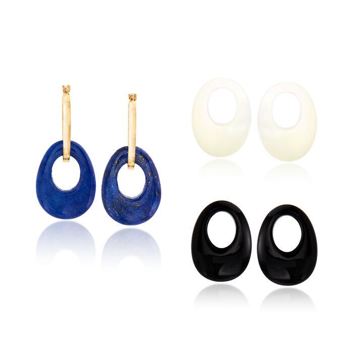 """20x15mm Multi-Gemstone Open-Oval Interchangeable Hoop Earrings in 14kt Yellow Gold. 1 1/4"""""""