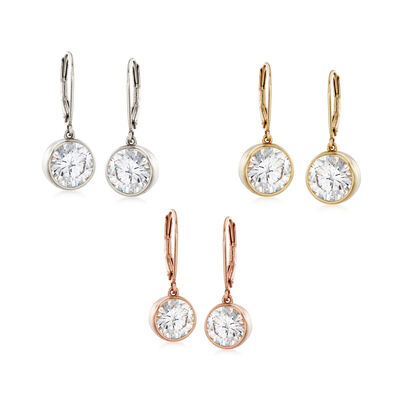 12.00 ct. t.w. CZ Jewelry Set: Three Pairs of Drop Earrings in Sterling Silver and Two-Tone 18kt Yellow Gold Over Sterling , , default