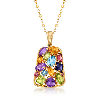 C. 1990 Vintage 5.60 ct. t.w. Multi-Gem Pendant Necklace in 14kt Yellow Gold, , default
