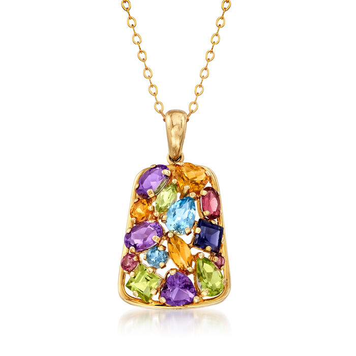 "C. 1990 Vintage 5.60 ct. t.w. Multi-Gem Pendant Necklace in 14kt Yellow Gold. 18"", , default"