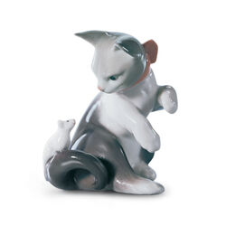 "Lladro ""Cat and Mouse"" Porcelain Figurine, , default"