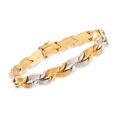 C. 1990 Vintage 18kt Two-Tone Gold Link Bracelet, , default
