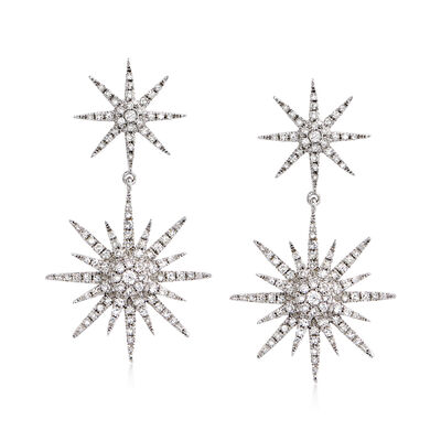 .94 ct. t.w. Diamond Starburst Drop Earrings in 14kt White Gold