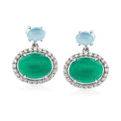 Green and Aqua Chalcedony Earrings with .80 ct. t.w. White Zircons in Sterling Silver, , default