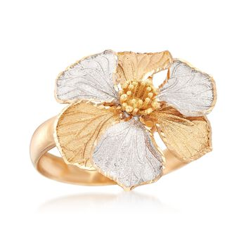 Italian 18kt Two-Tone Gold Flower Ring. Size 9