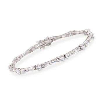 "8.00 ct. t.w. Baguette and Round CZ Bracelet in Sterling Silver. 7.5"", , default"