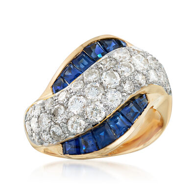 C. 1990 Vintage 2.28 ct. t.w. Diamond and 2.22 ct. t.w. Sapphire Sash Ring in 18kt Yellow Gold, , default
