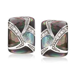 "Belle Etoile ""Sirena"" Black Mother-Of-Pearl and .20 ct. t.w. CZ Earrings in Sterling Silver, , default"