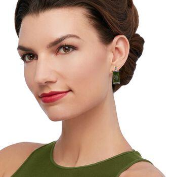 """Dark Green Jade """"Happy"""" Chinese Symbol Drop Earrings in Sterling Silver, , default"""