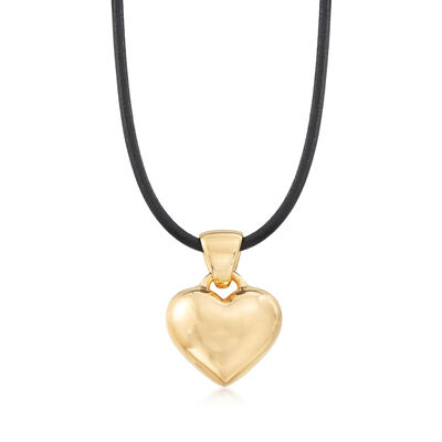 Italian Andiamo Heart Pendant Necklace in 14kt Yellow Gold with Leather Cord, , default