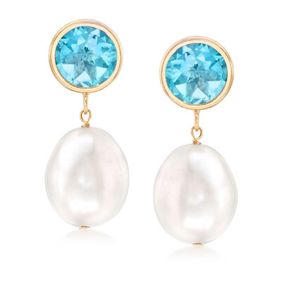 9.5-10mm Cultured Pearl and 4.00 ct. t.w. Blue Topaz Drop Earrings in 14kt Yellow Gold, , default