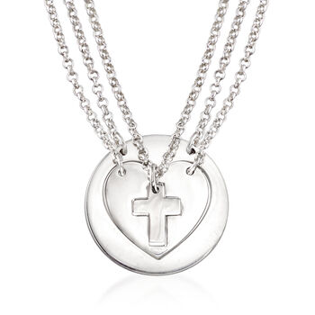 """Sterling Silver Jewelry Set: Three Generations Heart and Cross Necklaces. 18"""", , default"""