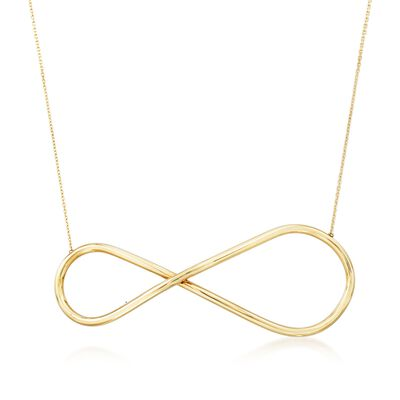 Italian 14kt Yellow Gold Large Infinity Symbol Necklace, , default