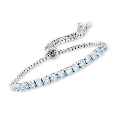 5.00 ct. t.w. Blue Topaz Bolo Bracelet in Sterling Silver