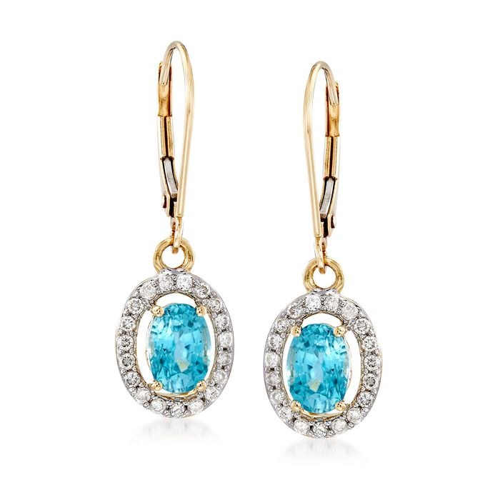 2.80 ct. t.w. Blue Zircon and .38 ct. t.w. Diamond Oval Drop Earrings in 14kt Yellow Gold