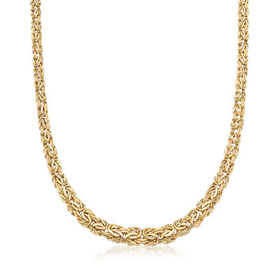 18kt Yellow Gold Byzantine Necklace, , default