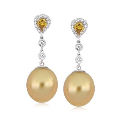 12.5-13mm Cultured South Sea Pearl and .84 ct. t.w. Diamond Drop Earrings in 18kt White Gold, , default