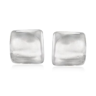 Sterling Silver Large Square Clip-On Earrings, , default
