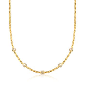 """Italian .80 ct. t.w. CZ Station Necklace in 18kt Gold Over Sterling. 18"""", , default"""