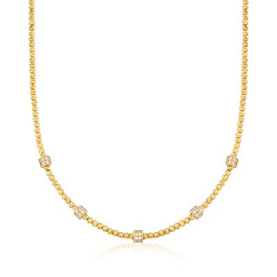 Italian .80 ct. t.w. CZ Station Necklace in 18kt Gold Over Sterling, , default