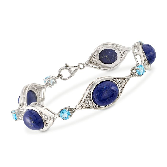 Lapis and 1.50 ct. t.w. Blue Topaz Station Bracelet with .55 ct. t.w. Diamonds in Sterling. 8.5""