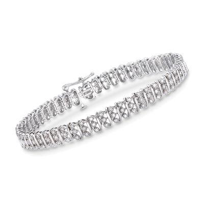 1.00 ct. t.w. Diamond Bar Bracelet in 14kt White Gold, , default