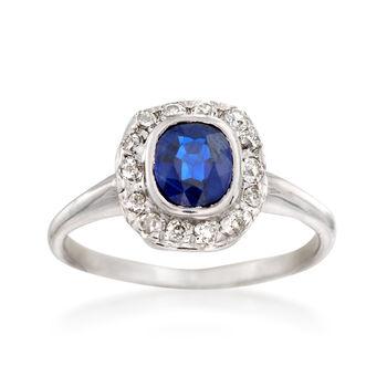 C. 1950 Vintage 1.00 Carat Sapphire and .35 ct. t.w. Diamond Ring in Platinum. Size 7, , default