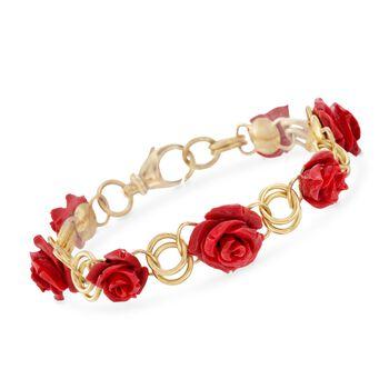 "Italian Resin Rose Bracelet in 18kt Gold Over Sterling. 7"", , default"