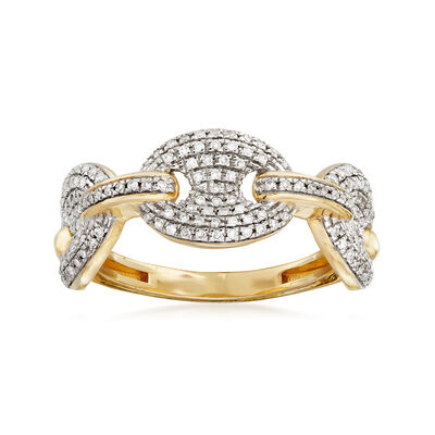 .32 ct. t.w. Pave Diamond Link Ring in 14kt Yellow Gold