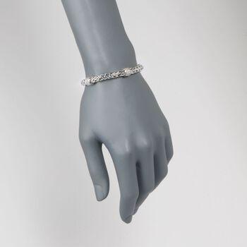 "Phillip Gavriel ""Woven"" .70 ct. t.w. White Sapphire Station Link Bracelet in Sterling Silver. 7.25"""