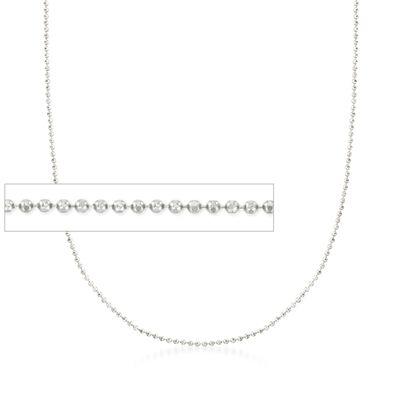 Italian 1mm 14kt White Gold Adjustable Slider Bead Chain, , default