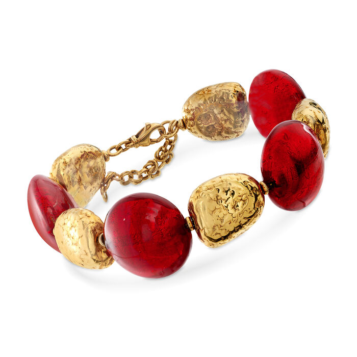 """C. 2000 Vintage Red Glass and 14kt Yellow Gold Bead Bracelet. 8"""", , default"""