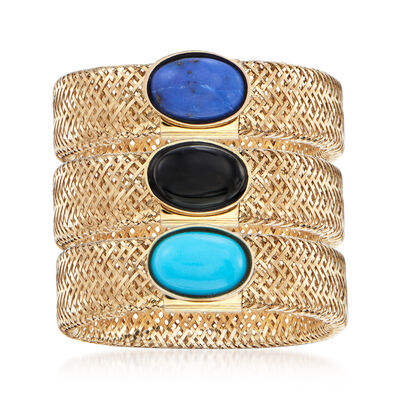 Italian Multi-Gemstone Jewelry Set: Three 14kt Yellow Gold Mesh Rings, , default