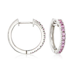 "1.10 ct. t.w. Pink Sapphire Hoop Earrings in Sterling Silver. 3/4"", , default"