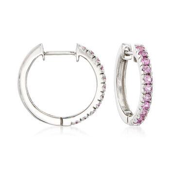 "1.10 ct. t.w. Pink Sapphire Hoop Earrings in Sterling Silver. 3/4"", , default"