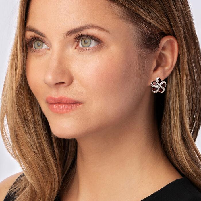 7.00 ct. t.w. Garnet Flower Earrings in Sterling Silver
