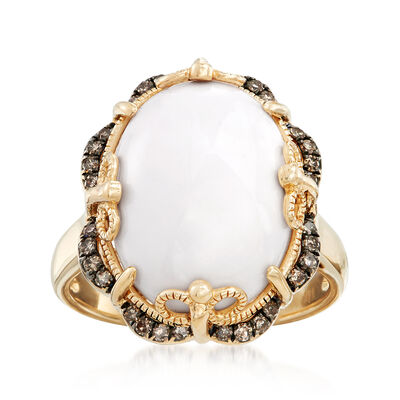 White Agate and .21 ct. t.w. Brown Diamond Frame Ring in 14kt Yellow Gold, , default