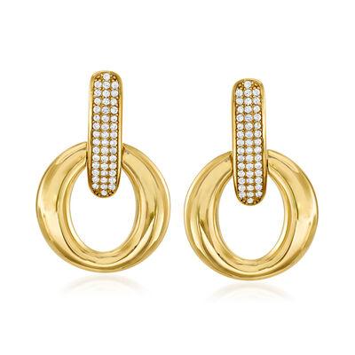 .40 ct. t.w. Pave CZ Oval Doorknocker Earrings in 18kt Gold Over Sterling, , default